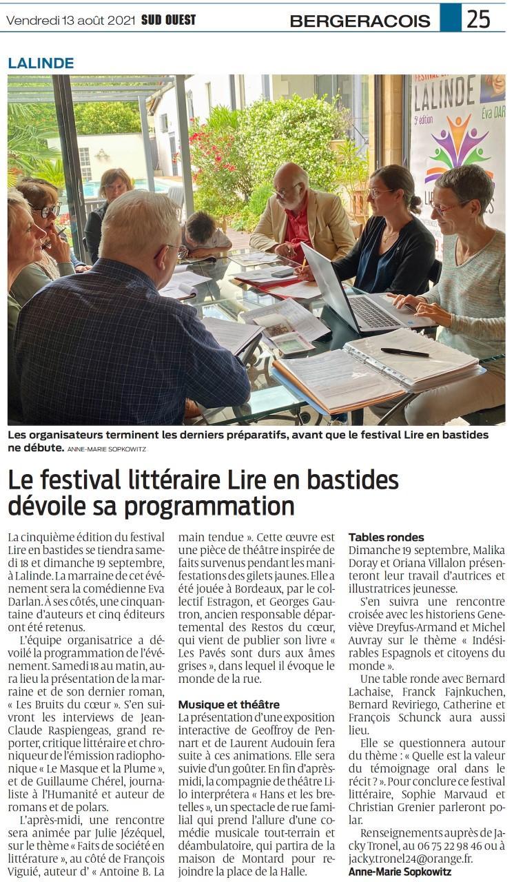 Festival lire en bastides sud ouest 13 08 2021