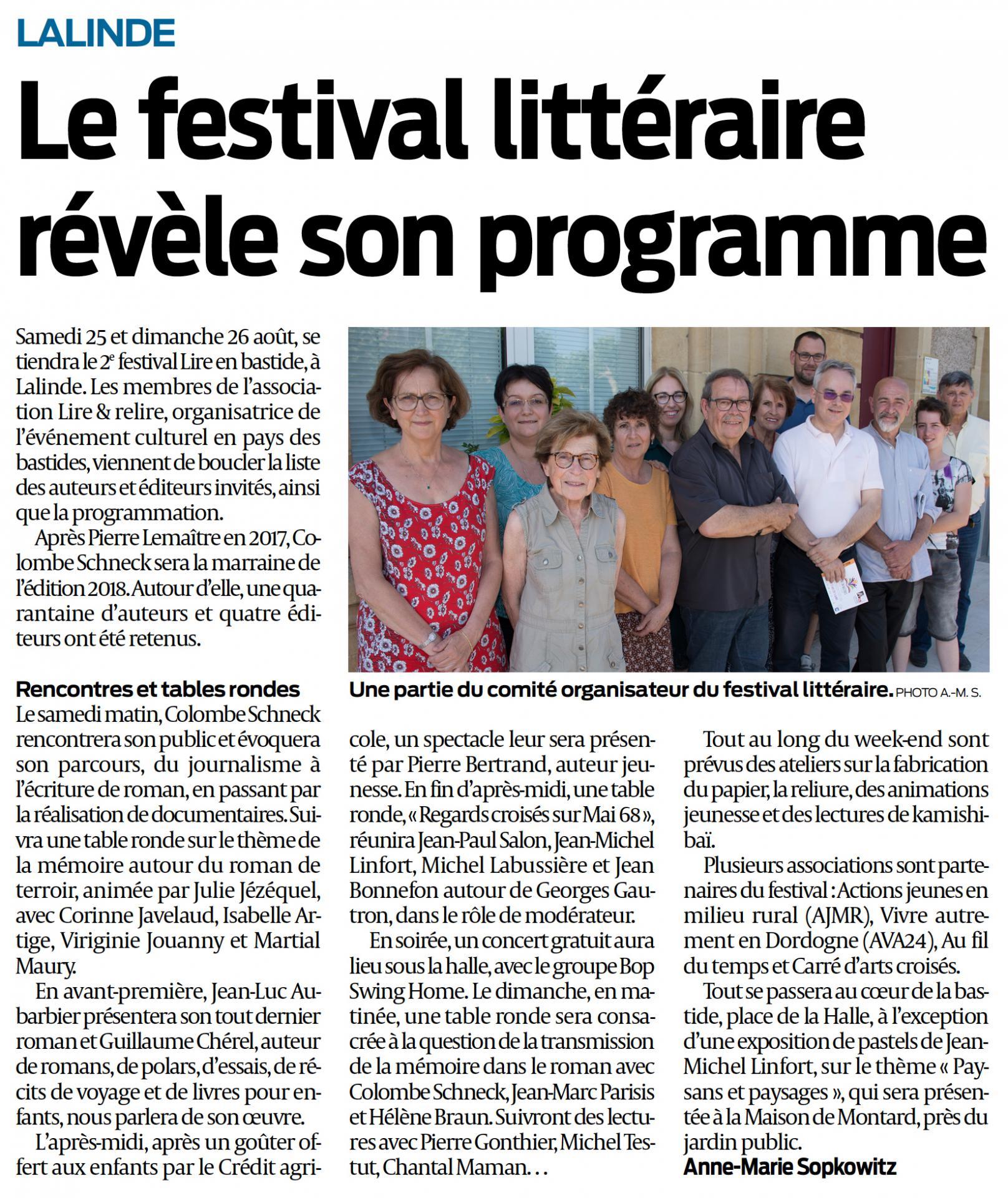 Festival litteraire de lalinde sud ouest 21 07 2018