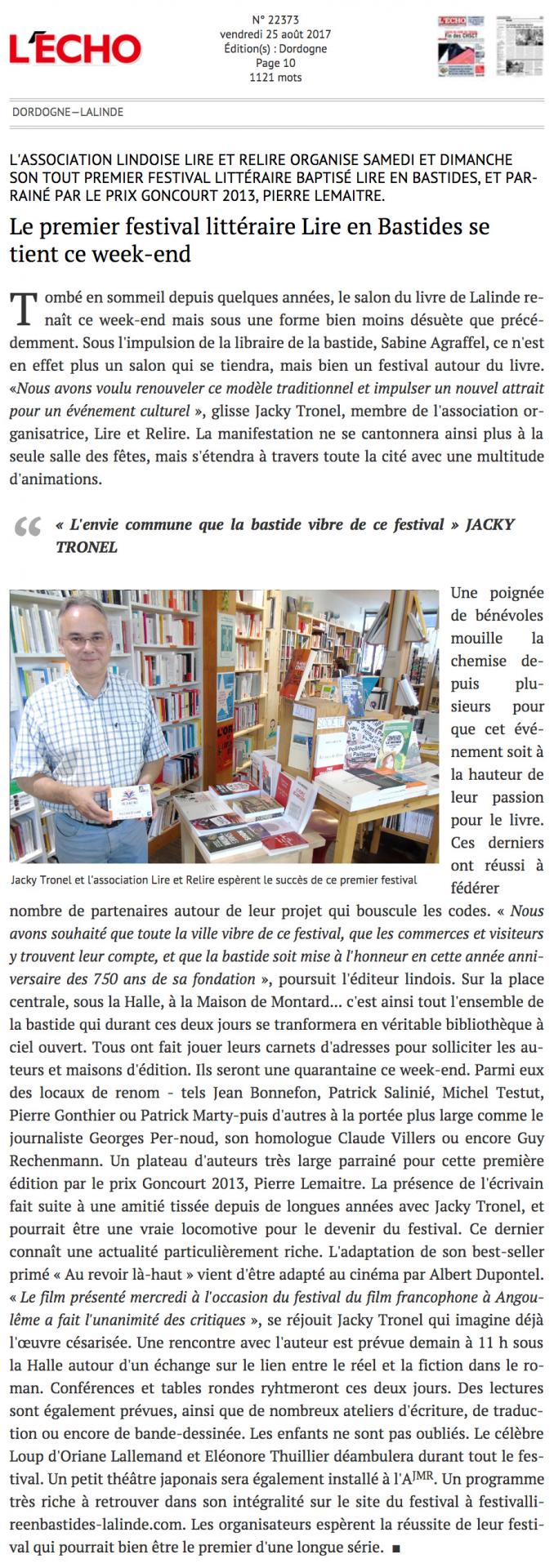 Journal l echo de la dordogne 25 08 2017
