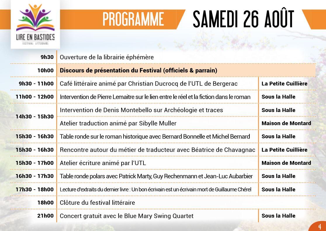 Programme samedi 26 aout 2017